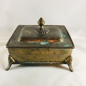 Vintage Brass Rectangle Trinket Box with Lid and decorative footed bottom Patina