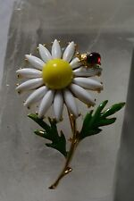 Vintage White Enamel Daisy Flower with Ladybug Pin Brooch