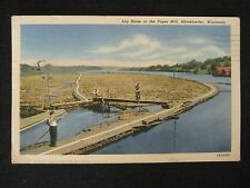 Log Boom at the Paper Mill~Linen Postcard~Posted Rhinelander, Wisconsin