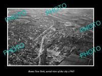 OLD LARGE HISTORIC PHOTO OF ROME NEW YORK, AERIAL VIEW OF CITY c1945 2