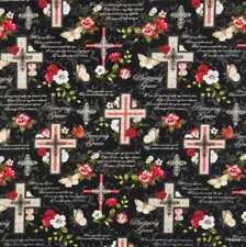 Amazing Grace Religious Christian Floral Cross Faith Belief Cotton Fabric t2/17