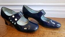 "Vintage ""Patios"" Blue Womens Shoes Childrens Pumps Handmade Size 4 Clean 2"" Heel"