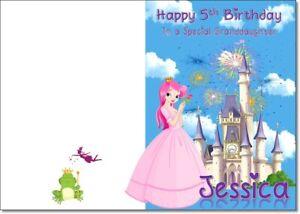 PERSONALISED Princess Birthday Card Castle Granddaughter Niece Sister Daughter