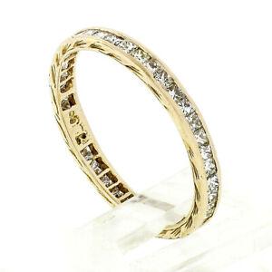Vintage 18k Gold 0.85ctw Channel Princess Cut Diamond Eternity Wedding Band Ring