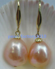 12x16mm shiny AAA  South Sea pink  Pearl Earrings 14K YELLOW GOLD Baroque