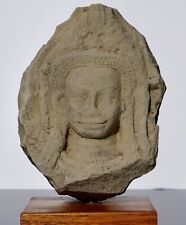 12th Century Khmer Sandstone Buddha Apsara Head