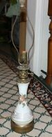 Antique Victorian Style Hand Painted Flower Table Lamp Gold Trim Floral Lamp