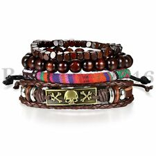 Brown Skull Leather Men Women Tribal Beaded Cuff Wristband Bracelet 4pcs Set