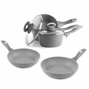 Salter COMBO-5122 Marblestone Non-Stick Saucepan & Frying Pan Set, 5 Piece, Grey