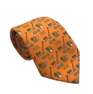 Genuine HERMES Orange Silk Tie Rabbits in Vegetable Garden Pattern 7720 Bunnies
