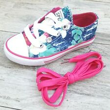 Toddler Girls Kids Blue Flowered Canvas Shoes Size 7-10 New