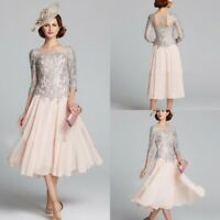 3/4 Sleeve Lace Mother Of The Bride/Groom Dresses Calf Length Chiffon Guest Gown