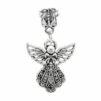 Filigree Guardian Angel Holiday Christmas Dangle Charm for European Bracelets