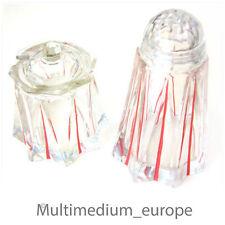 Art Déco Set Salière Sucre Épandeur Pot de miel Moutarde verre 30 Années rouge