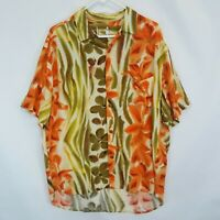 Vtg Jams World Hawaiian Floral Tiger Print Rayon Aloha Camp Shirt Mens Sz L USA