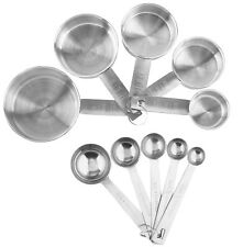 Stainless Steel Measuring Cups And Spoons 10-Piece Set, 5 Cups & spoons