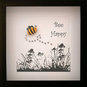 Personalised Art Picture Gifts Framed Pebble Bumble Bee Happy Diamante Birthday