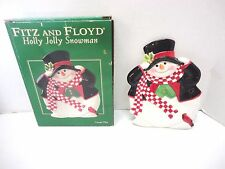 Fitz & Floyd Holly Jolly Snowman Collector, Canape, Cookie, Snack Plate 2004