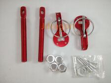 Red JDM Aluminum Mount Bonnet Flip Over Hood Latch Pin Locking Kit