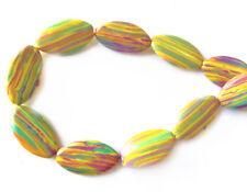 Calsilica Rainbow Semi Precious Stone Man-made Dyed 28x16mm Oval Bead Q1 Strand