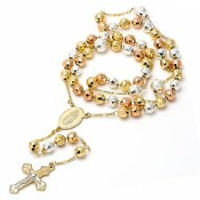 BEAUTIFUL MEDIUM 18K GOLD OVER SILVER  ROSARY NECKLACE!!!