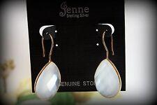 24k Gold Over Sterling Silver Stamped Rose Quartz Gemstone DangleDrop Earrings