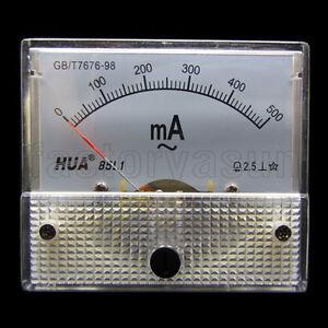 AC 500mA Analog Panel AMP Current Meter Ammeter Gauge 85L1 0-500mA AC White