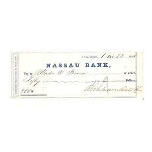 ANTIQUE 1855 ABRAHAM BELL & SON CO NASSAU BANK NEW YORK $50 CHECK ! -d2882tcs2