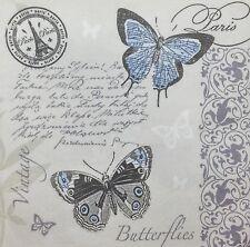 3x Single Paper Napkins Decoupage Craft Tissue Butterfly Paris Eiffel Stamp M131