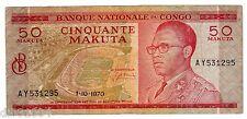 CONGO AFRIQUE Billet 50 FRANCS 1/10/ 1970  P11 RARE BON ETAT