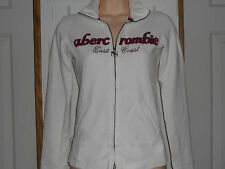 Abercrombie White Stretch Cotton Knit Zip Front Jacket   Sz.S GUC