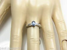 9ct 9Carat White Gold Topaz & Diamond Set Solitaire Engagement Ring UK Size N