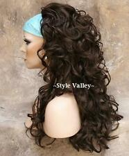 Medium Brown 3/4 Fall Hair Piece Curly Long Half Wig Hairpiece STUNNING!