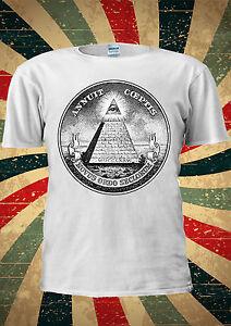 Illuminati Mason Masonic Dollar Pyramid Eye T Shirt Men Women Unisex 1309