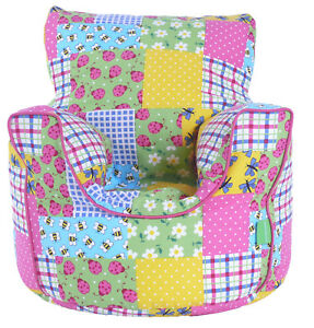 Cotton Patchwork Bean Bag Arm Chair with Beans Toddler Size From Bean Lazy