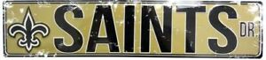 """NEW ORLEANS SAINTS STREET METAL 24X5.5"""" SIGN DRIVE NFL DR ROAD AVE DISTRESSED"""