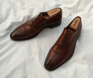 Santoni Brown Cognac Perforated Cap Toe Oxford Dress Shoes 9EE Made in Italy