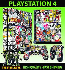 PS4 skin Stickerbomb 002 Graffiti dessin animé Logos AUTOCOLLANT + PAD décalques