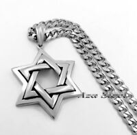 Men's Jewish Star of David Necklace Silver Stainless Steel Pendant Jewelry NEW