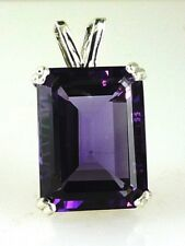 Genuine Very Large Emerald Cut fine color Amethyst Pendant .925 Sterling Silver