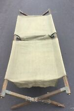 Vintage 1945 WWII Military Wood Camping Cot Folding Cotton Canvas Field Bed