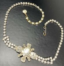 "Vintage High End Necklace Choker 12-14"" Crystal Rhinestones Silver Tone Lot4"