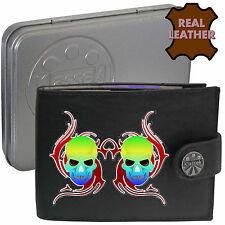 Klassek Multi Coloured Skull in Red Fire Leather Wallet Voodoo Death Head Tin