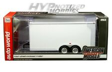 Auto World 1:18 Four Wheel Enclosed Trailer Die-Cast White Amm1238