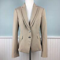 Size 6 White House Black Market Beige Lined Blazer Suit Jacket Women's Small S