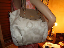NWT COACH ASHLEY Dotted OP Art SATCHEL Shoulder Bag 25183 Khaki/Taupe (NO STRAP)