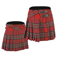 New Ladies Knee Length Traditional Party Scottish Kilt Tartan Kilts Acrylic Wool