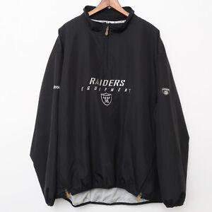 Vintage Raiders Football NFL Reebok Windbreaker Jacket Size Men XL X Large Black