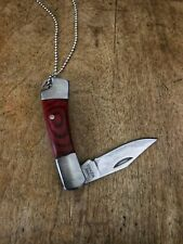 Handle Stainless Steel Blade Charm Miniature Pocket Knife Necklace, Natural Wood