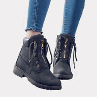 Women Winter Martin Ankle Boots Chunky Waterproof Motorcycle Work Causal Shoes